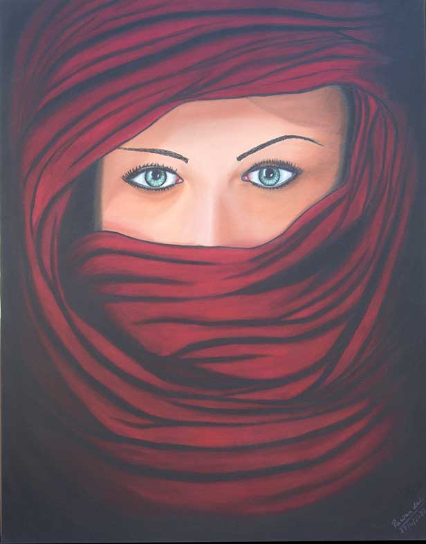 Lady in Red Veil (Green Eyes) oil on Canvas